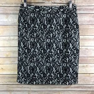 Worthington Floral Lace Pencil Skirt (Bin: SK136)